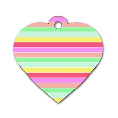 Pastel Rainbow Sorbet Horizontal Deck Chair Stripes Dog Tag Heart (two Sides) by PodArtist