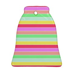 Pastel Rainbow Sorbet Horizontal Deck Chair Stripes Ornament (bell) by PodArtist