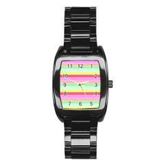 Pastel Rainbow Sorbet Horizontal Deck Chair Stripes Stainless Steel Barrel Watch by PodArtist