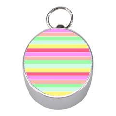 Pastel Rainbow Sorbet Horizontal Deck Chair Stripes Mini Silver Compasses by PodArtist