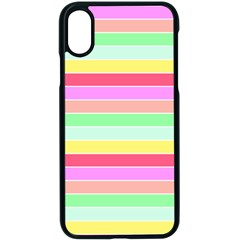 Pastel Rainbow Sorbet Horizontal Deck Chair Stripes Apple Iphone X Seamless Case (black) by PodArtist