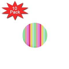 Pastel Rainbow Sorbet Deck Chair Stripes 1  Mini Buttons (10 Pack)  by PodArtist