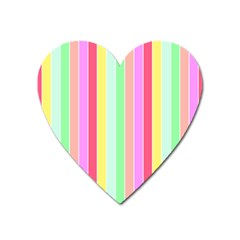 Pastel Rainbow Sorbet Deck Chair Stripes Heart Magnet by PodArtist