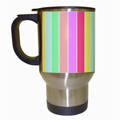 Pastel Rainbow Sorbet Deck Chair Stripes Travel Mugs (white) by PodArtist