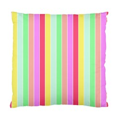 Pastel Rainbow Sorbet Deck Chair Stripes Standard Cushion Case (two Sides) by PodArtist