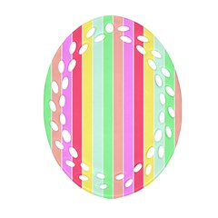 Pastel Rainbow Sorbet Deck Chair Stripes Ornament (oval Filigree) by PodArtist