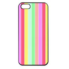 Pastel Rainbow Sorbet Deck Chair Stripes Apple Iphone 5 Seamless Case (black) by PodArtist
