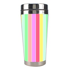 Pastel Rainbow Sorbet Deck Chair Stripes Stainless Steel Travel Tumblers by PodArtist