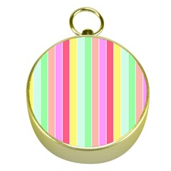 Pastel Rainbow Sorbet Deck Chair Stripes Gold Compasses by PodArtist