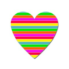 Neon Hawaiian Rainbow Horizontal Deck Chair Stripes Heart Magnet by PodArtist