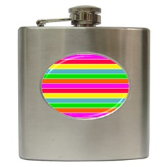 Neon Hawaiian Rainbow Horizontal Deck Chair Stripes Hip Flask (6 Oz) by PodArtist