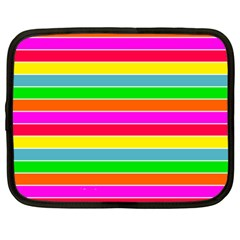 Neon Hawaiian Rainbow Horizontal Deck Chair Stripes Netbook Case (large) by PodArtist
