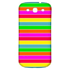 Neon Hawaiian Rainbow Horizontal Deck Chair Stripes Samsung Galaxy S3 S Iii Classic Hardshell Back Case by PodArtist