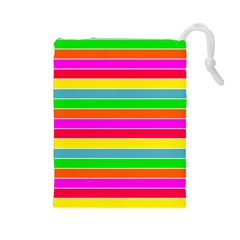 Neon Hawaiian Rainbow Horizontal Deck Chair Stripes Drawstring Pouch (large) by PodArtist