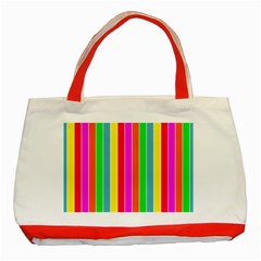 Neon Hawaiian Rainbow Deck Chair Stripes Classic Tote Bag (red) by PodArtist