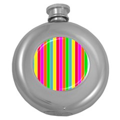 Neon Hawaiian Rainbow Deck Chair Stripes Round Hip Flask (5 Oz) by PodArtist