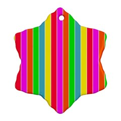 Neon Hawaiian Rainbow Deck Chair Stripes Snowflake Ornament (two Sides) by PodArtist