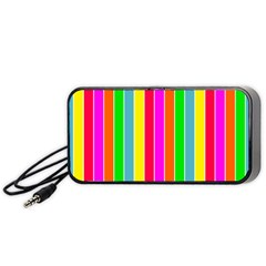 Neon Hawaiian Rainbow Deck Chair Stripes Portable Speaker by PodArtist