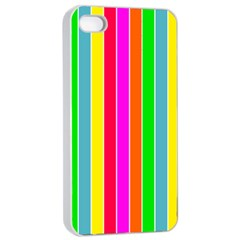 Neon Hawaiian Rainbow Deck Chair Stripes Apple Iphone 4/4s Seamless Case (white) by PodArtist