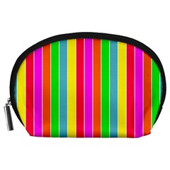 Neon Hawaiian Rainbow Deck Chair Stripes Accessory Pouch (large) by PodArtist
