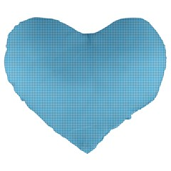 Oktoberfest Bavarian Blue Mini Houndstooth Check Large 19  Premium Heart Shape Cushions by PodArtist