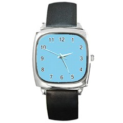 Oktoberfest Bavarian Blue Houndstooth Check Square Metal Watch by PodArtist
