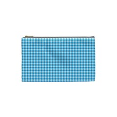 Oktoberfest Bavarian Blue Houndstooth Check Cosmetic Bag (small) by PodArtist