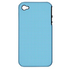 Oktoberfest Bavarian Blue Houndstooth Check Apple Iphone 4/4s Hardshell Case (pc+silicone) by PodArtist