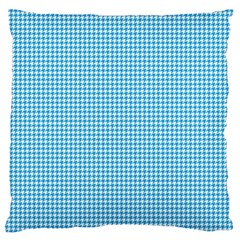 Oktoberfest Bavarian Blue Houndstooth Check Large Flano Cushion Case (one Side) by PodArtist