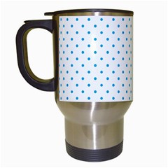 Mini Oktoberfest Bavarian Blue Polkadots On White Travel Mugs (white) by PodArtist