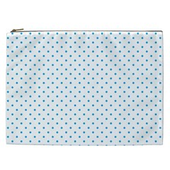 Mini Oktoberfest Bavarian Blue Polkadots On White Cosmetic Bag (xxl) by PodArtist
