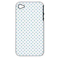 Mini Oktoberfest Bavarian Blue Polkadots On White Apple Iphone 4/4s Hardshell Case (pc+silicone) by PodArtist