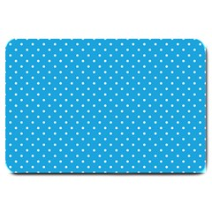 Mini White Polkadots On Oktoberfest Bavarian Blue Large Doormat  by PodArtist