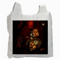 Funny Steampunk Skeleton, Clocks And Gears Recycle Bag (one Side) by FantasyWorld7