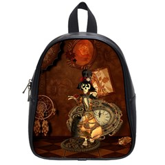 Funny Steampunk Skeleton, Clocks And Gears School Bag (small) by FantasyWorld7