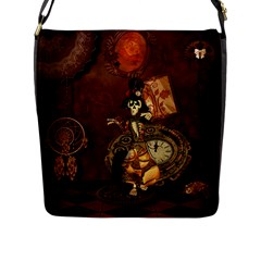 Funny Steampunk Skeleton, Clocks And Gears Flap Closure Messenger Bag (l) by FantasyWorld7