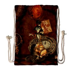 Funny Steampunk Skeleton, Clocks And Gears Drawstring Bag (large) by FantasyWorld7
