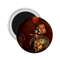 Funny Steampunk Skeleton, Clocks And Gears 2 25  Magnets by FantasyWorld7