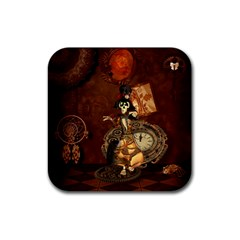 Funny Steampunk Skeleton, Clocks And Gears Rubber Square Coaster (4 Pack)  by FantasyWorld7