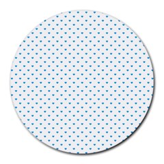 Oktoberfest Bavarian Blue Mini Love Hearts On White Round Mousepads by PodArtist