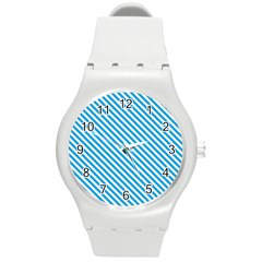 Oktoberfest Bavarian Blue And White Small Candy Cane Stripes Round Plastic Sport Watch (m) by PodArtist