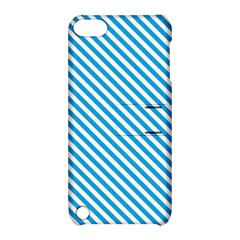 Oktoberfest Bavarian Blue And White Small Candy Cane Stripes Apple Ipod Touch 5 Hardshell Case With Stand by PodArtist