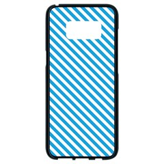 Oktoberfest Bavarian Blue And White Small Candy Cane Stripes Samsung Galaxy S8 Black Seamless Case by PodArtist