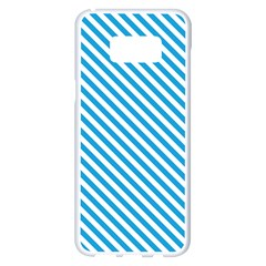 Oktoberfest Bavarian Blue And White Small Candy Cane Stripes Samsung Galaxy S8 Plus White Seamless Case by PodArtist