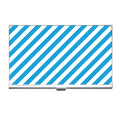 Oktoberfest Bavarian Blue And White Candy Cane Stripes Business Card Holder by PodArtist