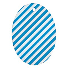 Oktoberfest Bavarian Blue And White Candy Cane Stripes Oval Ornament (two Sides) by PodArtist