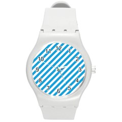 Oktoberfest Bavarian Blue And White Candy Cane Stripes Round Plastic Sport Watch (m) by PodArtist