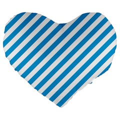Oktoberfest Bavarian Blue And White Candy Cane Stripes Large 19  Premium Heart Shape Cushions by PodArtist
