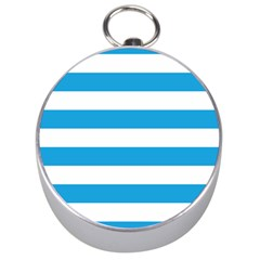 Oktoberfest Bavarian Blue And White Large Cabana Stripes Silver Compasses by PodArtist