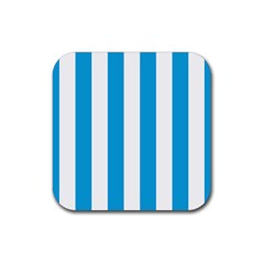 Oktoberfest Bavarian Blue And White Large Cabana Stripes Rubber Coaster (square)  by PodArtist